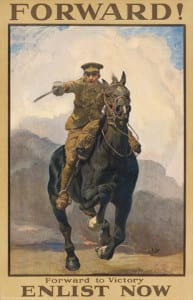 Lucy Kemp-Welch – Forward -  Enlist Now, poster, 1915, Bushey Museum & Art Gallery (Click image to enlarge)