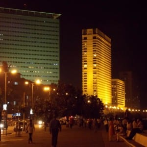 Modern buildings adding glamour to the Marine Drive promenade.