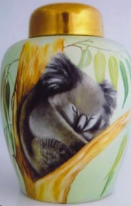 Kaiser Ginger Jar with Sleeping Koala - Handpainted by Patricia Newell-Dunkley