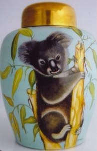 Kaiser Ginger Jar with Koala - Handpainted by Patricia Newell-Dunkley
