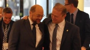Martin Schulz, left, with Maltese PM Joseph Muscat