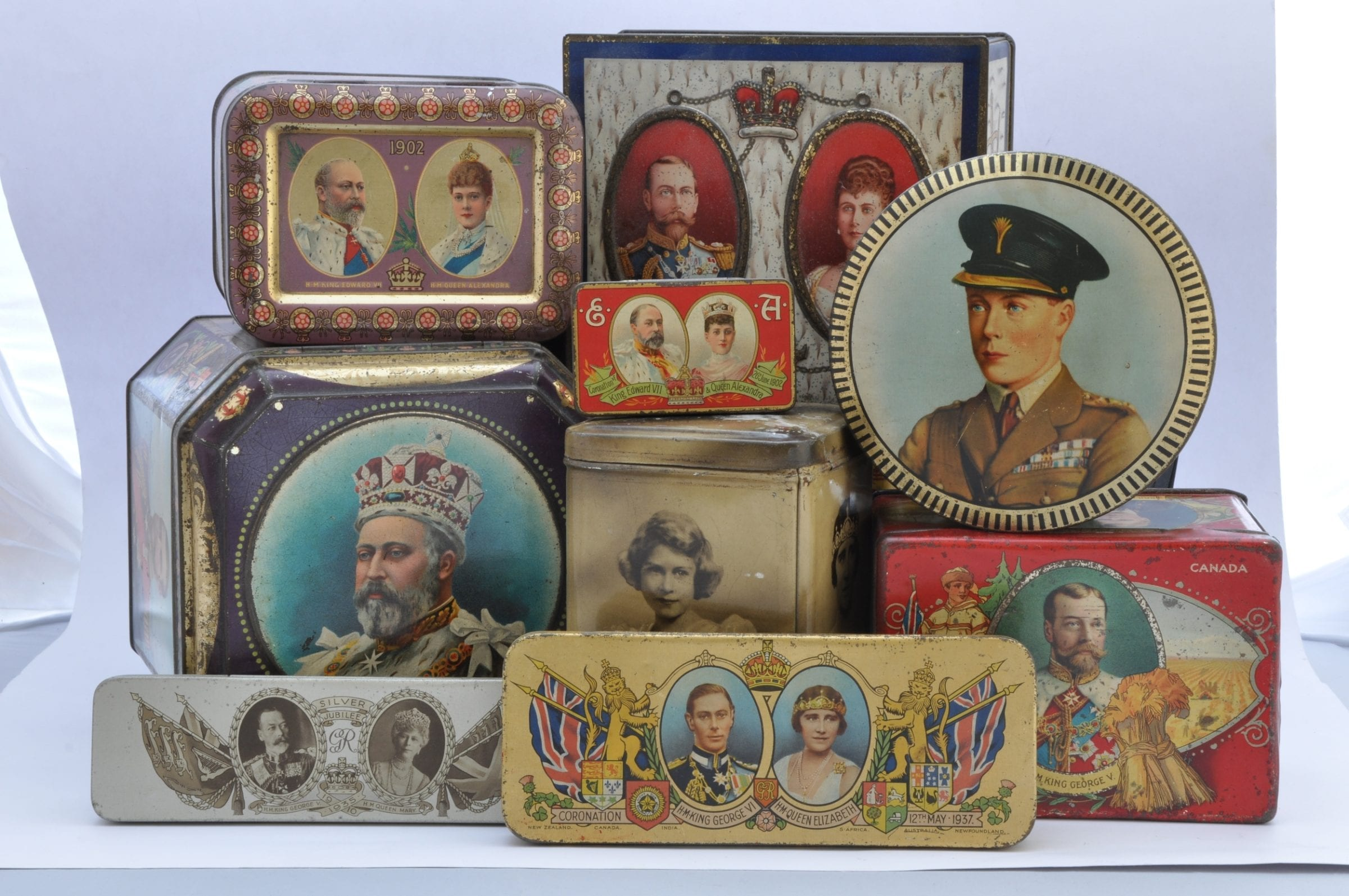 Decorative souvenir tins for royal occasions - would have contained chocolate,tea,mustard
