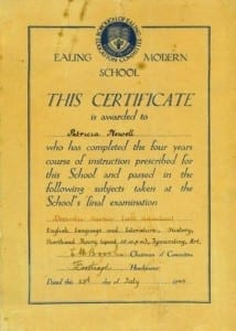 15 Pat school Domestic science certificate