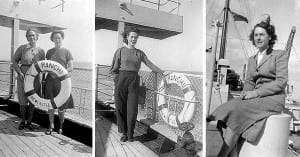 Pat and her mother on s.s. Ranchi 1949