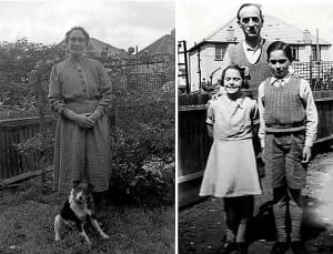 Pat with her parents and brother at Greenford