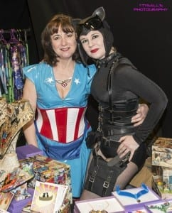 Cat Woman and Captain America on their geeky jewellery stand