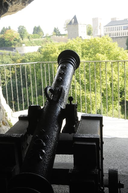 16 an old cannon in the casemates