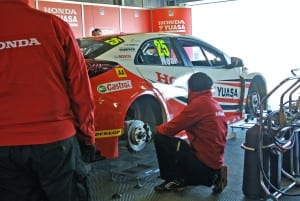Fettling the racing Civic Type R before the action starts