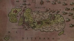 a somewhat mis-shapen map of Malta and Gozo in 1565