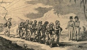 A sketch depiction of Christian slaves being driven by what was described as Muslim Infidels