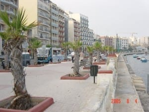 The Strand - the Gzira Seafront which once teemed with British RN sailors.