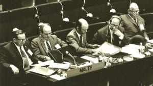 Mintoff (far left) at the Helsinki Summit, with his Maltese delegation