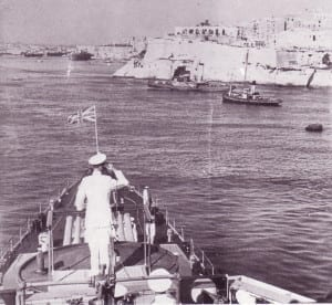 King George VI touring the Malta Grand Harbour in Valletta.