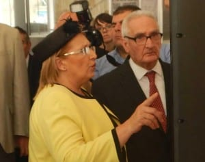 Malta President Marie-Louise Coleiro Preca with former Prime Minister Karmenu Mifsud Bonnici attending the exhibition