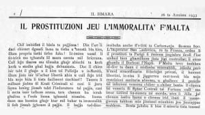 The Maltese newspaper Il-Hamra lamenting on the increase of prostitution and immorality in Malta in 1933.