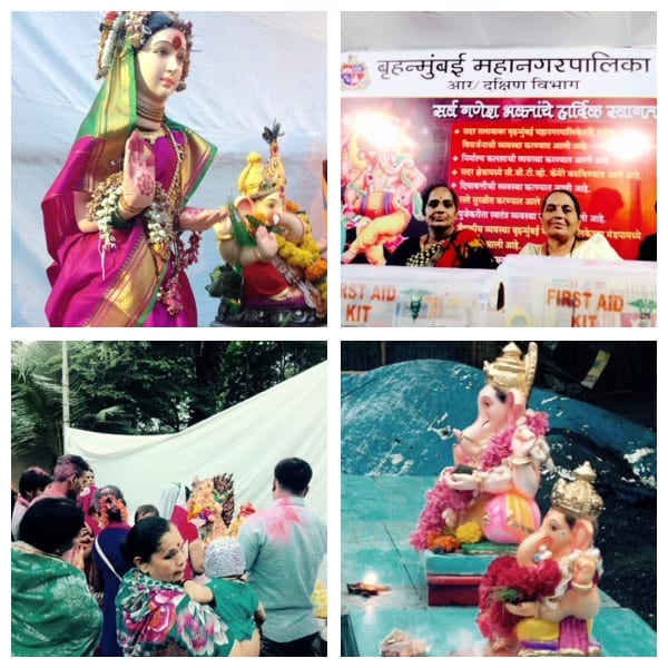 BMC arrangements for Ganesh idol Visarjan. Top left- Nurses Swapna Damle and Nandini Patil to provide health care during the event.