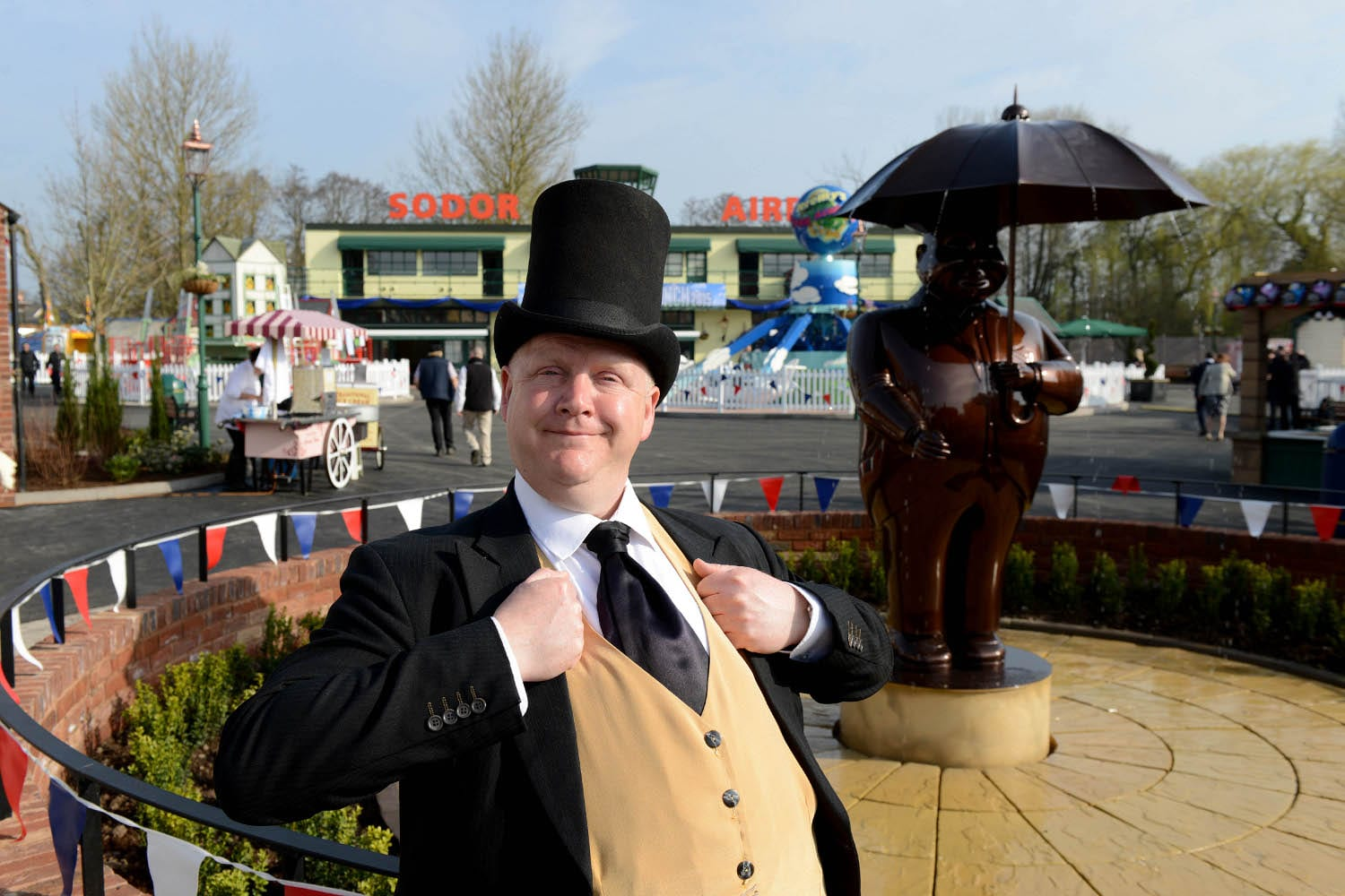 Opening of the Thomas Land Expansion at Drayton Manor Theme Park. The Fat Controller prepares to open the doors.