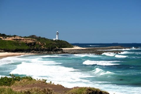 Norah Head Lighthouse on the Central Coast of NSW. by Reginald J. Dunkley.
