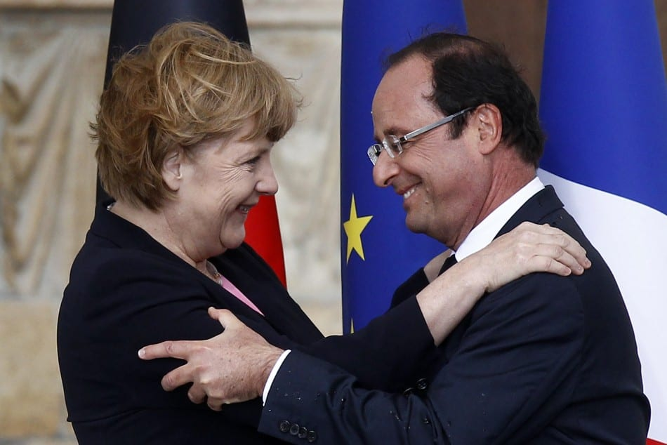 Merkel and Hollande - bosom pals