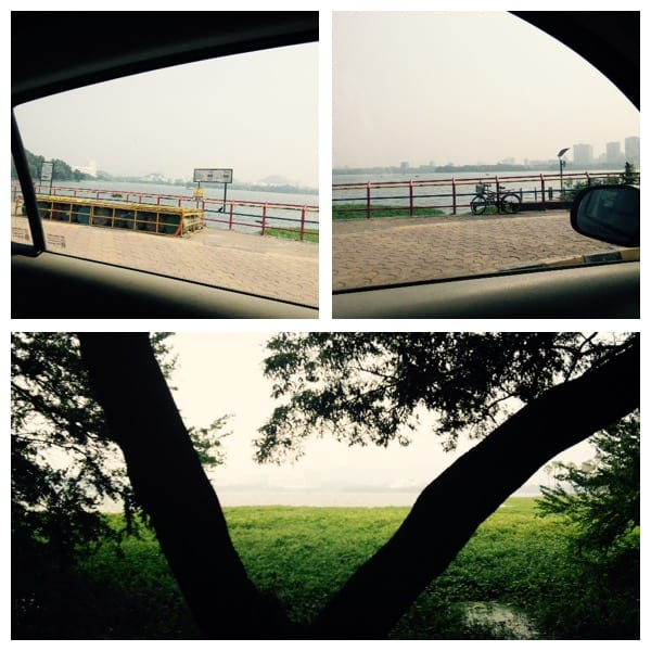 Powai lake from my car window