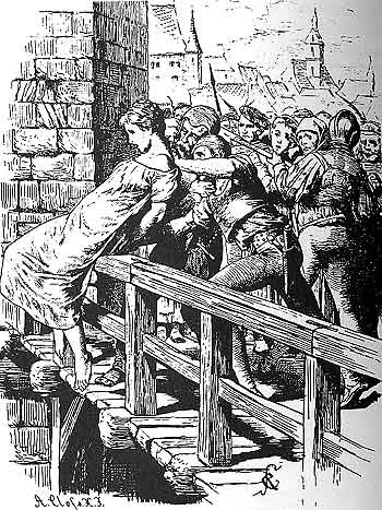 The Spanish Inquisition 03 a condemned victim being pushed off a bridge