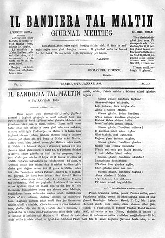 The first issue of Il-Bandiera_tal-Maltin, first published on 8th January 1898 by Manwel Dimech.
