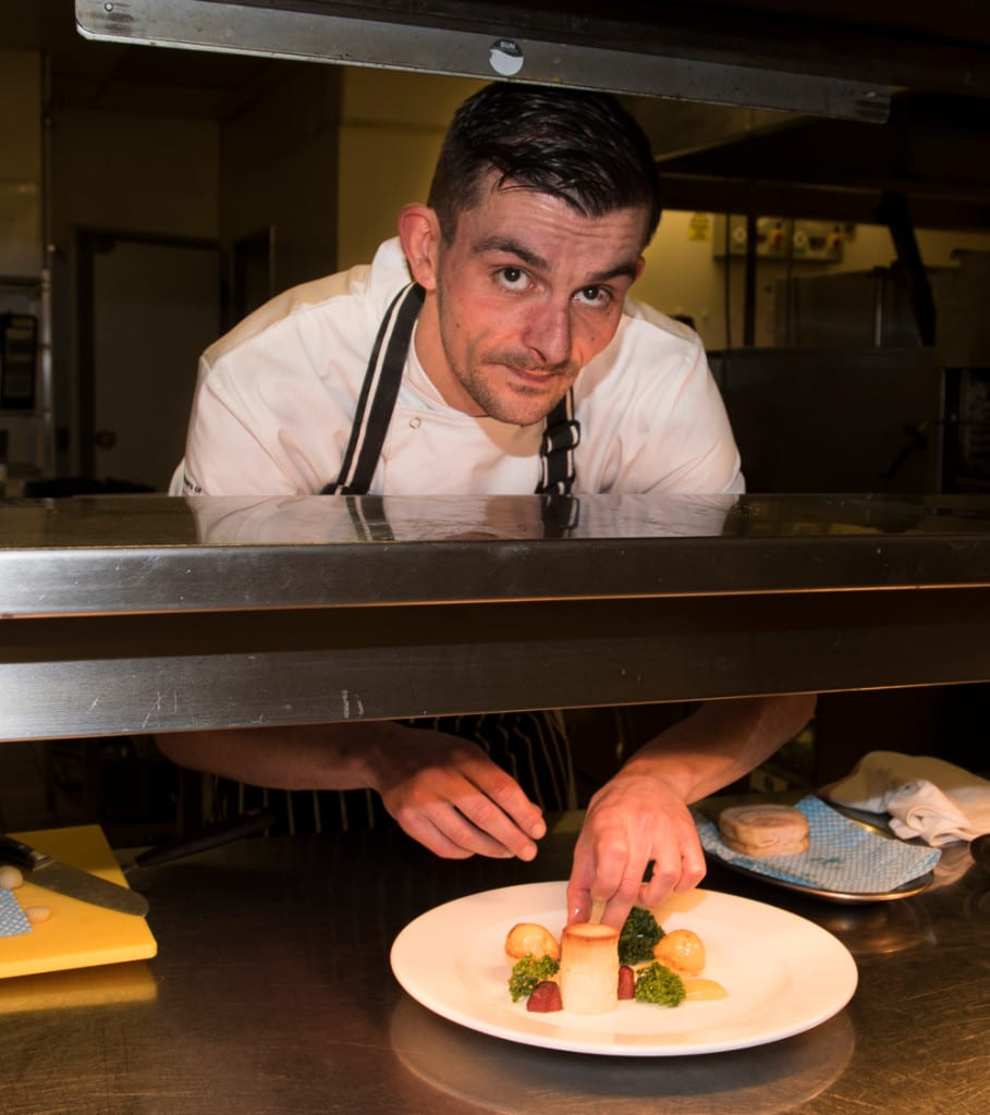 Chef, Phil Bailey - food shot in kitchen at The Falcon Hotel, Stratford-upon-Avon, 2015.