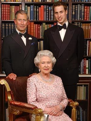 The present and future of Britain's royalty, Queen Elizabeth and her heirs Prince Charles and Prince Harry.