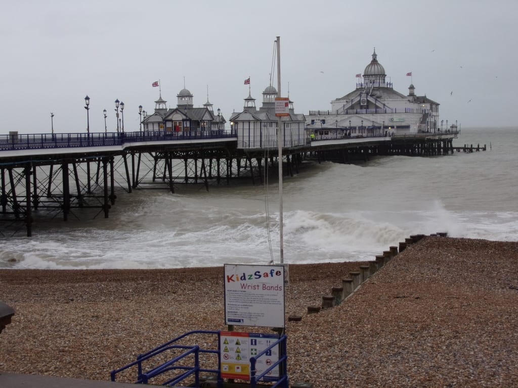 Eastbourne Pier attacked by high waves