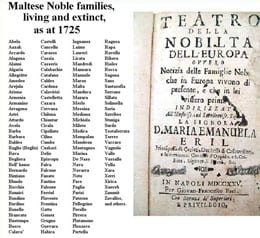 The Maltese nobility listed in the 18th century.