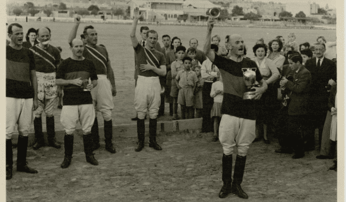 Prince Philip (centre) during his Malta polo playing days at Marsa.