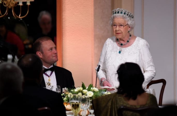 The Queen's official gala dinner for all Heads of Commonwealth Governments with Maltese PM Joseph Muscat.