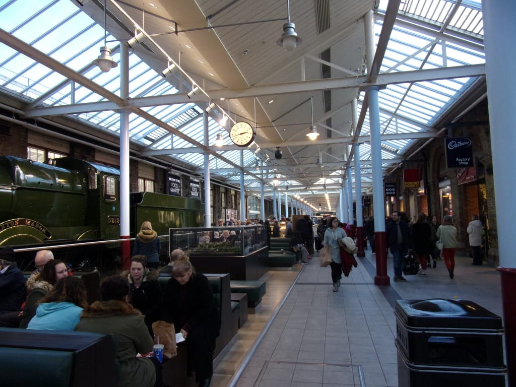 yes, they do have an original steam railway engine alongside an eating area
