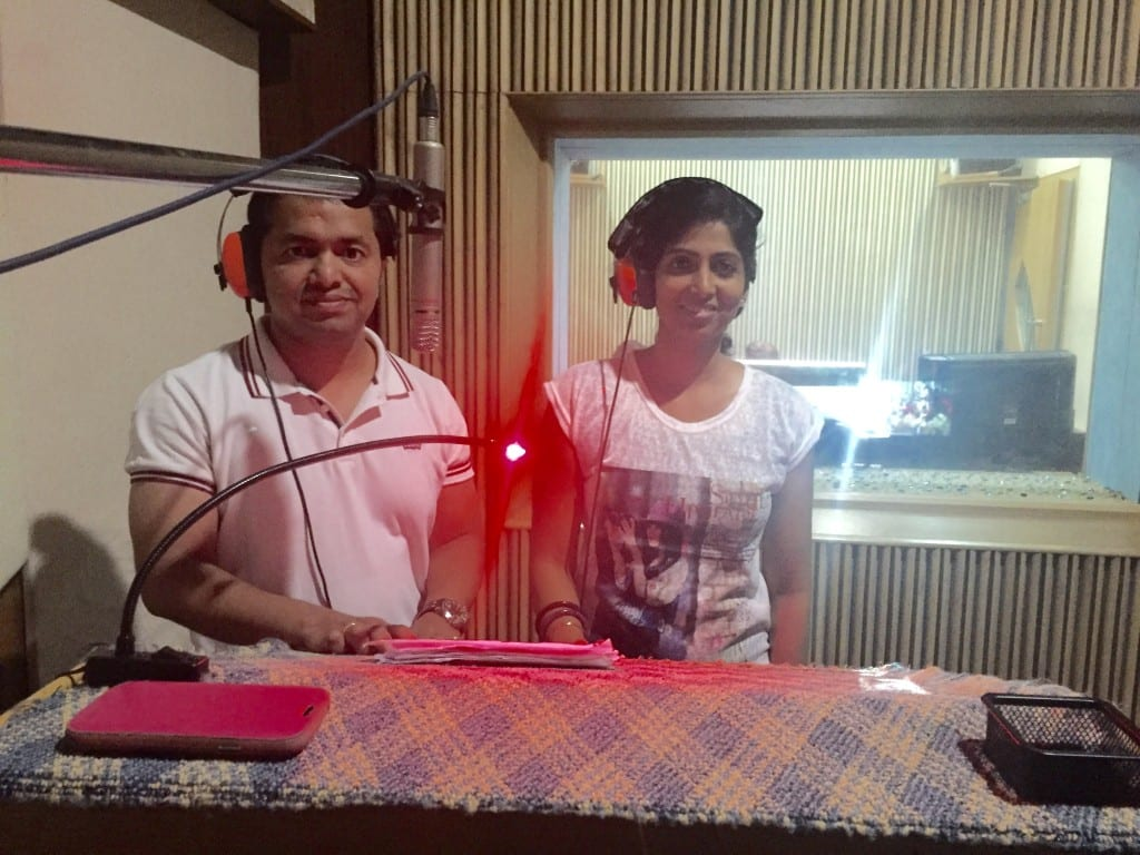 Demo dubbing session for a Bollywood film dialogue along with brother Siddhesh.
