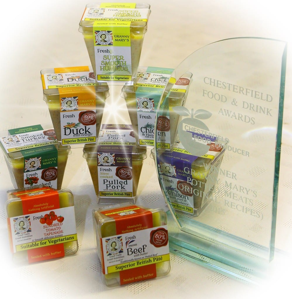 Granny Mary's Original Recipes, the current product range with their food producer award from the Chesterfield Food Awards