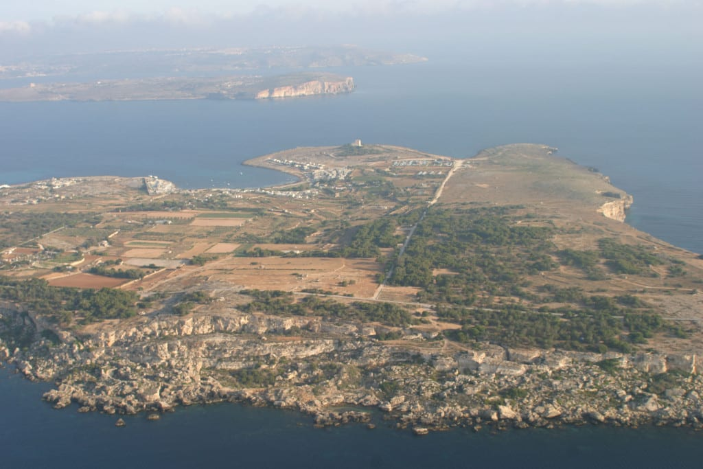 An aerial view of Comino.