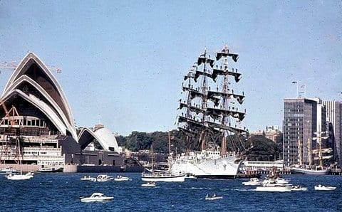 Opera House Sydney with the tall boats. Taken by Reginald J. Dunkley