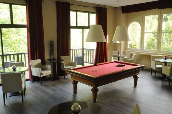 The billiard room overlooking the Tarn at the Hotel La Muse et le Rozier