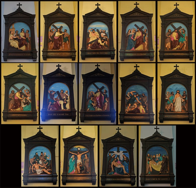 The 14 Stations of the Cross.