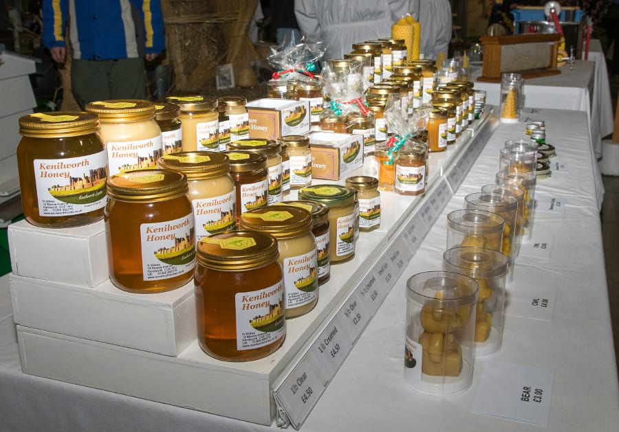 Warwickshire Beekeepers stand, honey,