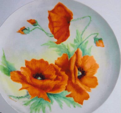Handpainted Poppy Plate - by Patricia Newell-Dunkley