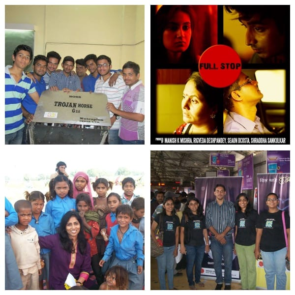Annual donation to social causes so far:Top left- Mind Matterz funded engineering students for their project at VJTI's 'Technovanza'- The team won 1st prize in the Robo War competition. Top right- Mind Matterz funded a short film based on a psychological theme- The Final Full Stop. Bottom left- Sponsoring solar lanterns towards slum kid's education at Jhansi, Uttar Pradesh. Bottom right- Contributed to Anti-Tobacco Campaign in collaboration with Indian Cancer Society.