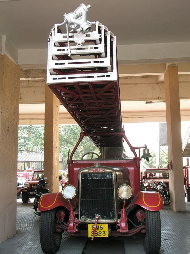 Antique fire engine used during the 1944 Victoria Dock rescue mission