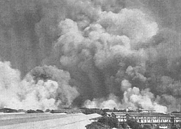 Smoke hovering Victoria Dock during the aftermath of the Bombay Explosions in 1944