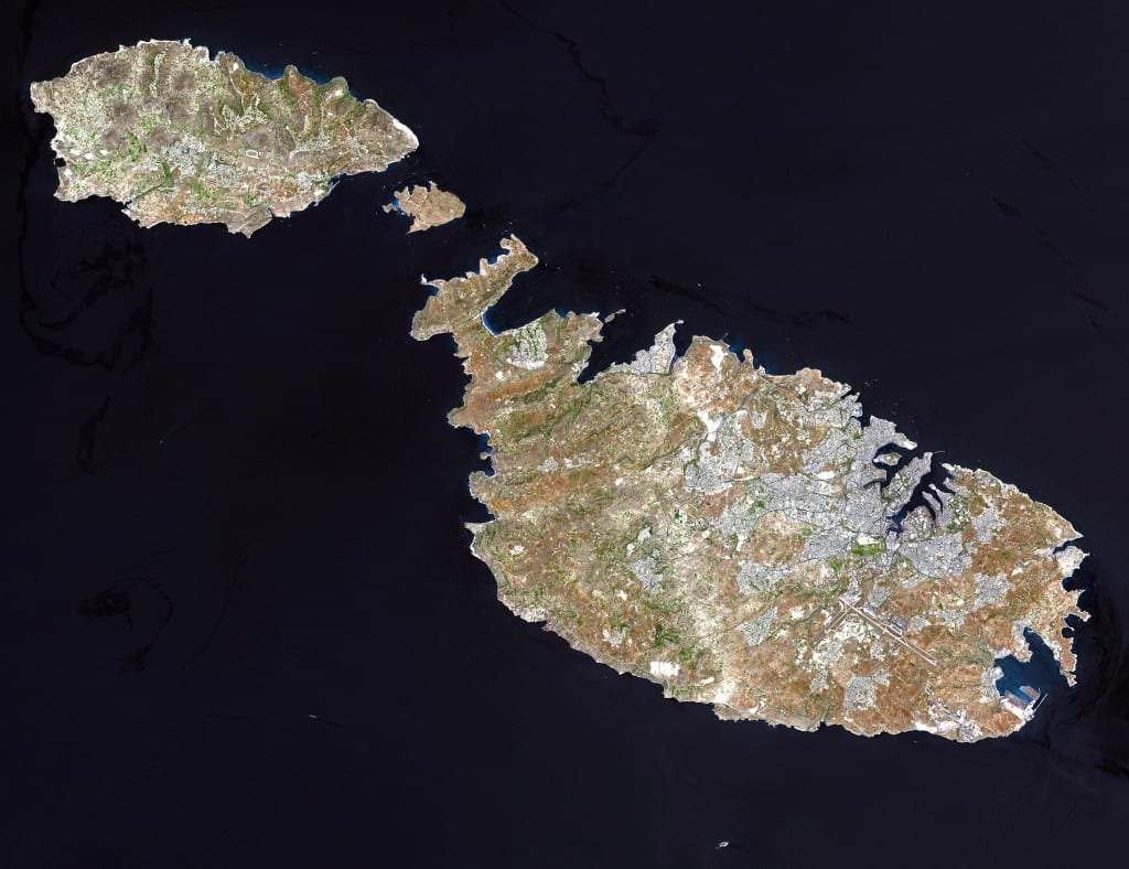 A satelite image of Malta and Gozo with tiny Comino in between.