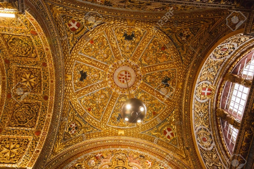 wall and ceiling frescoes in St John's Co-Cathedral in Valletta in Malta