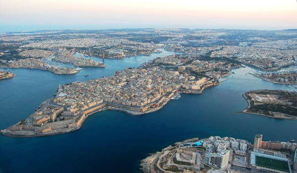 Aerial view of Valletta's Grand Harbour.