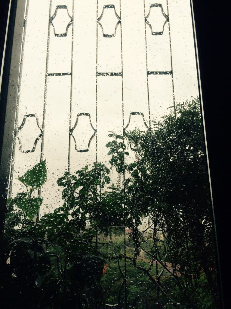 First showers melts my heart away: Window pane sprinkled by morning showers!