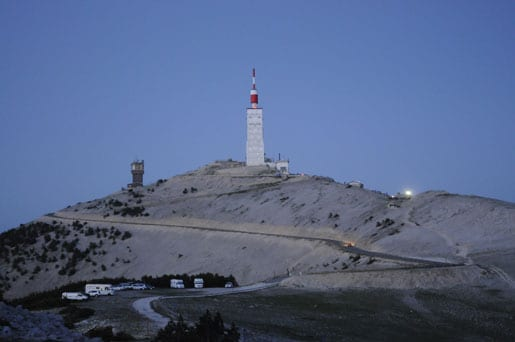 The Mont Ventoux summit at night