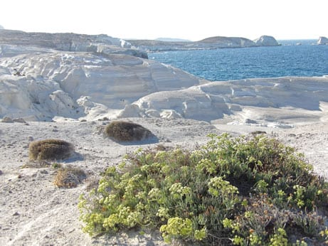 The unique Sarakiniko landscape